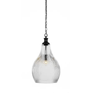 Carina Matte Black One-Light 21-Inch Chain Hung Pendant with Clear Ribbed Glass
