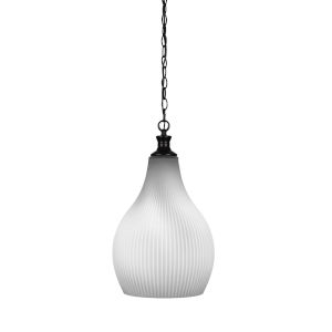 Carina Matte Black One-Light 21-Inch Chain Hung Pendant with Opal Frosted Glass