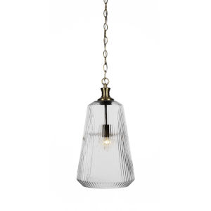 Carina New Age Brass One-Light 18-Inch Chain Hung Pendant with Clear Ribbed Glass