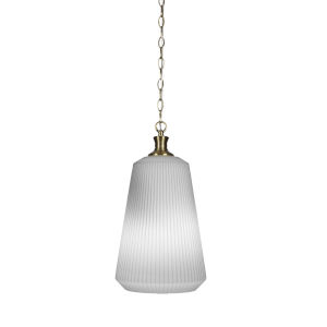 Carina New Age Brass One-Light 18-Inch Chain Hung Pendant with Opal Frosted Glass