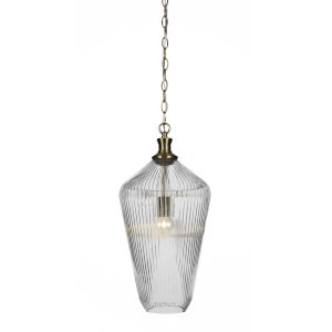 Carina New Age Brass One-Light 20-Inch Chain Hung Pendant with Clear Ribbed Glass