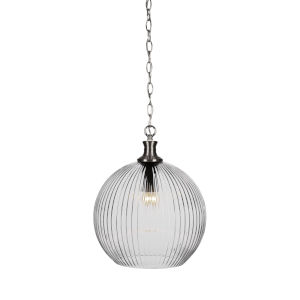Carina Brushed Nickel One-Light 17-Inch Chain Hung Pendant with Clear Ribbed Glass