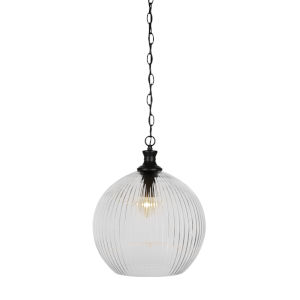 Carina Matte Black 13-Inch One-Light Pendant with Clear Ribbed Glass Shade