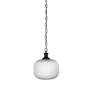 Carina Matte Black 10-Inch One-Light Mini Pendant with Opal Frosted Glass Shade