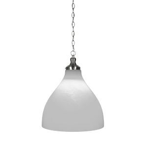 Juno Brushed Nickel 16-Inch One-Light Pendant with White Marble Glass Shade