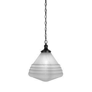 Juno Matte Black One-Light Pendant with White Marble Glass Shade