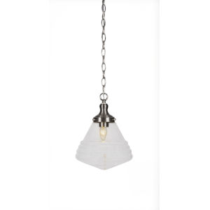 Juno Brushed Nickel One-Light 10-Inch Chain Hung Pendant with Clear Bubble Glass