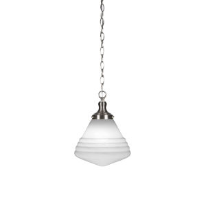 Juno Brushed Nickel One-Light 13-Inch Chain Hung Pendant with White Marble Glass