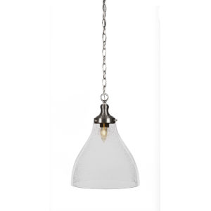 Juno Brushed Nickel One-Light 16-Inch Chain Hung Pendant with Clear Bubble Glass