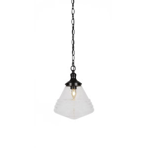 Juno Matte Black One-Light 13-Inch Chain Hung Pendant with Clear Bubble Glass