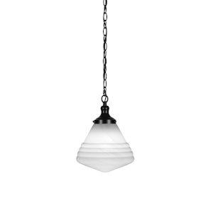 Juno Matte Black One-Light 10-Inch Chain Hung Pendant