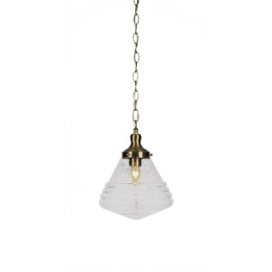 Juno New Age Brass One-Light 13-Inch Chain Hung Pendant with Clear Bubble Glass