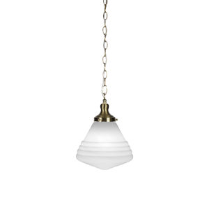Juno New Age Brass One-Light 13-Inch Chain Hung Pendant with White Marble Glass