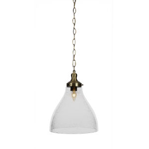 Juno New Age Brass One-Light 12-Inch Chain Hung Pendant with Clear Bubble Glass