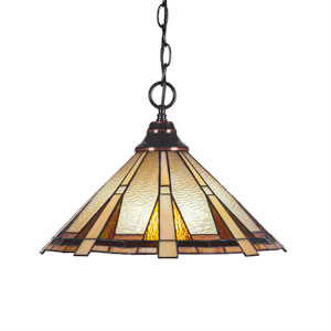 Any Black Copper One-Light Pendant with Zion Tiffany Glass