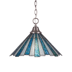 Any Brushed Nickel One-Light Pendant with Sea Ice Tiffany Glass
