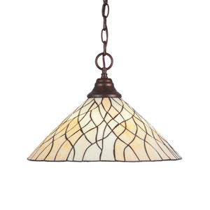 Any Bronze One-Light Pendant with Sandhill Tiffany Glass