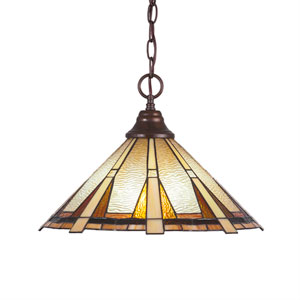 Any Bronze One-Light Pendant with Zion Tiffany Glass