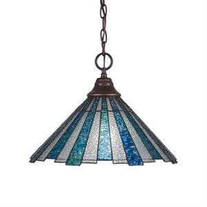 Any Dark Granite One-Light Pendant with Sea Ice Tiffany Glass