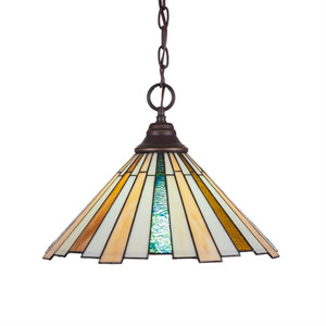 Any Dark Granite One-Light Pendant with Sequoia Tiffany Glass