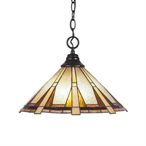 Any Matte Black One-Light Pendant with Zion Tiffany Glass