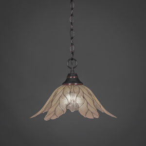 Black Copper One-Light Pendant with Vanilla Leaf Glass