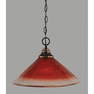 Black Copper One-Light Pendant with Raspberry Crystal Glass