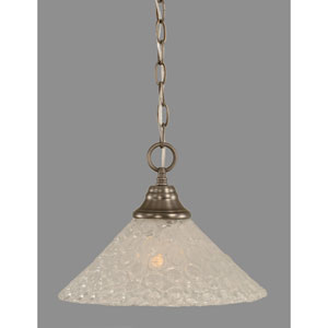 Brushed Nickel Pendant with 12-Inch Italian Bubble Glass