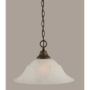 Bronze One-Light Pendant with White Marble Glass