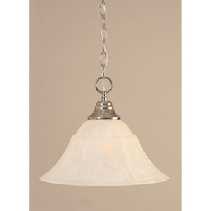 Chrome Chain Hung Pendant with White Marble Glass