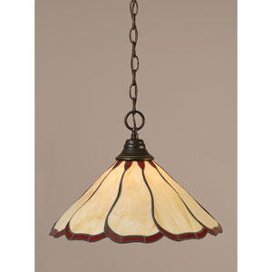 Dark Granite Chain Hung Pendant with Honey and Burgundy Flair Tiffany Glass