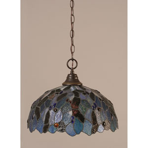 Dark Granite Chain Hung Pendant with Blue Mosaic Tiffany Glass