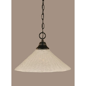 Matte Black 16-Inch One Light Chain Hung Pendant with Italian Bubble Glass