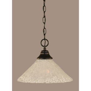 Matte Black 12-Inch One Light Chain Hung Pendant with Italian Bubble Glass