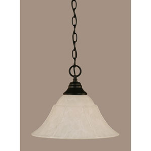Matte Black 14-Inch One Light Chain Hung Pendant with White Marble Glass