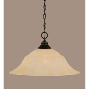 Matte Black 20-Inch One Light Chain Hung Pendant with Amber Marble Glass