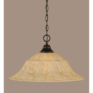 Matte Black 20-Inch One Light Chain Hung Pendant with Italian Marble Glass