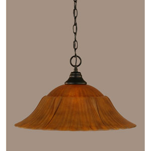 Matte Black 20-Inch One Light Chain Hung Pendant with Tiger Glass