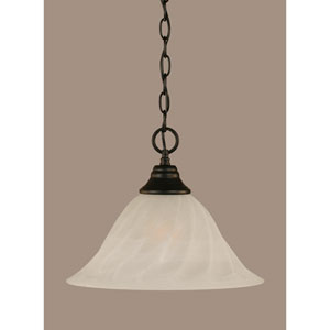 Matte Black 14-Inch One Light Chain Hung Pendant with White Alabaster Swirl Glass