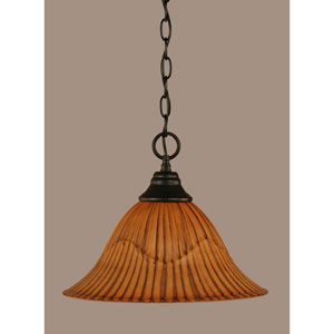 Matte Black 14-Inch One Light Chain Hung Pendant with Tiger Glass