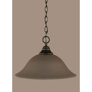 Matte Black 16-Inch One Light Chain Hung Pendant with Gray Linen Glass