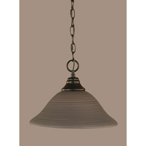 Matte Black 12-Inch One Light Chain Hung Pendant with Gray Linen Glass