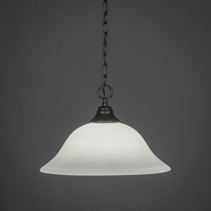 Matte Black 16-Inch One Light Chain Hung Pendant with White Linen Glass