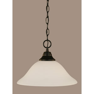 Matte Black 12-Inch One Light Chain Hung Pendant with White Linen Glass