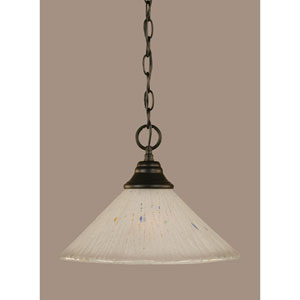 Matte Black 12-Inch One Light Chain Hung Pendant with Frosted Crystal Glass