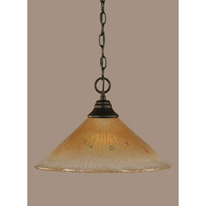 Matte Black 16-Inch One Light Chain Hung Pendant with Amber Crystal Glass