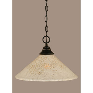 Matte Black 16-Inch One Light Chain Hung Pendant with Gold Ice Glass