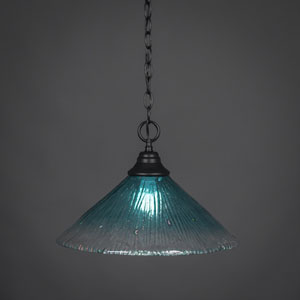 Matte Black 16-Inch One Light Chain Hung Pendant with Teal Crystal Glass