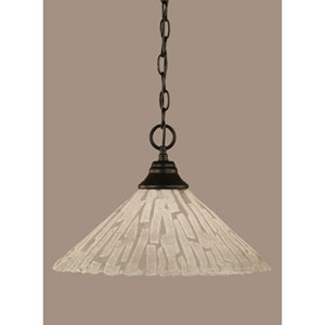 Matte Black 16-Inch One Light Chain Hung Pendant with Italian Ice Glass