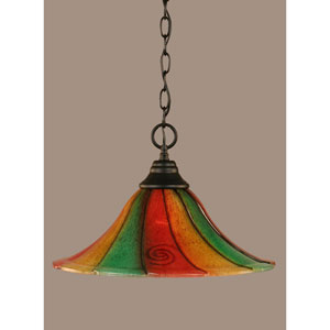 Matte Black 16-Inch One Light Chain Hung Pendant with Mardi Gras Glass